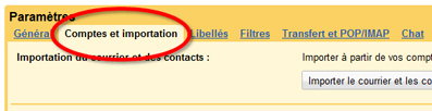 Comptes et importantion pop gmail